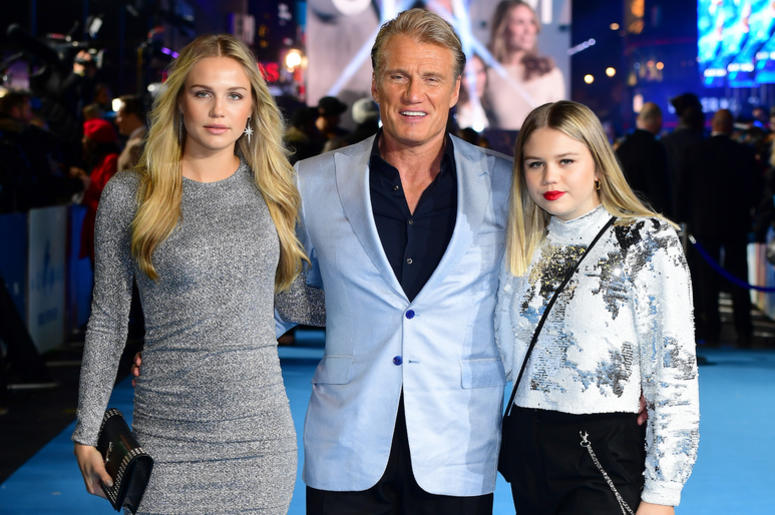 Dolph Lundgren (centre) with daughters Ida Lundgren (left) and Greta Lundgren attending the Aquaman premiere held at Cineworld in Leicester Square, London