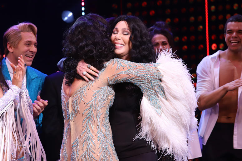 """Cher appears on stage during the opening night curtain call for """"The Cher Show"""" on Broadway at the Neil Simon Theatre in New York."""