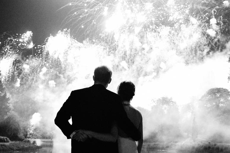 This photograph taken by Chris Allerton of the Duke and Duchess of Sussex at their Wedding Reception at Frogmore House on 19th May features on their Royal Highnesses' Christmas card this year.