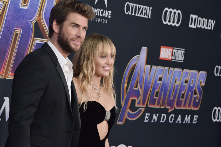"""(L-R) Liam Hemsworth and Miley Cyrus at Marvel Studios' """"Avengers: Endgame"""" World Premiere held at the Los Angeles Convention Center in Los Angeles, CA on Monday, April 22, 2019."""
