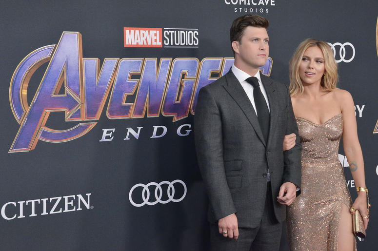 """(L-R) Colin Jost and Scarlett Johansson at Marvel Studios' """"Avengers: Endgame"""" World Premiere held at the Los Angeles Convention Center in Los Angeles, CA on Monday, April 22, 2019."""
