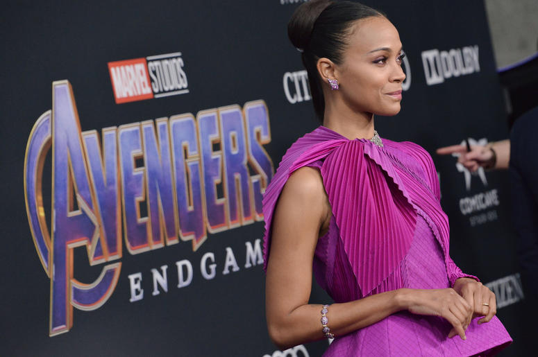 """Zoe Saldana arrives at Marvel Studios' """"Avengers: Endgame"""" World Premiere held at the Los Angeles Convention Center in Los Angeles, CA on Monday, April 22, 2019."""