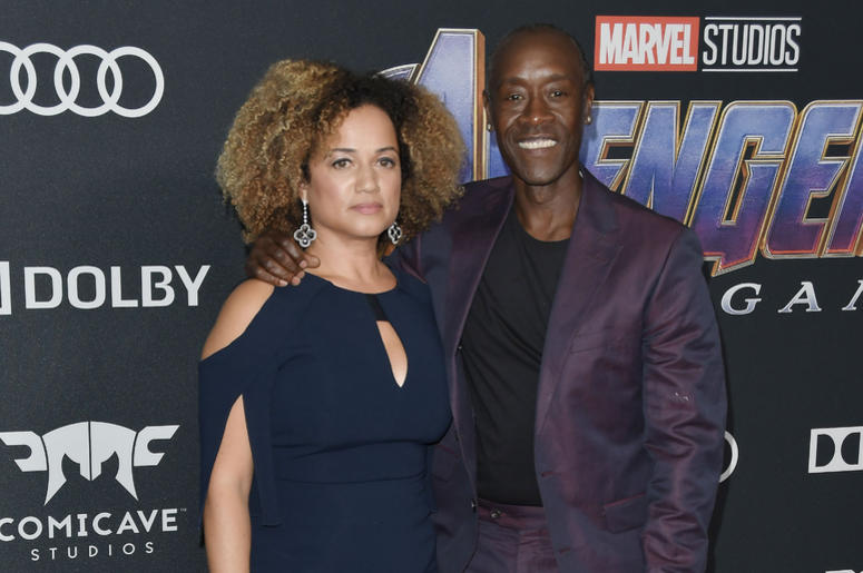 """(L-R) Bridgid Coulter and Don Cheadle at Marvel Studios' """"Avengers: Endgame"""" World Premiere held at the Los Angeles Convention Center in Los Angeles, CA on Monday, April 22, 2019."""