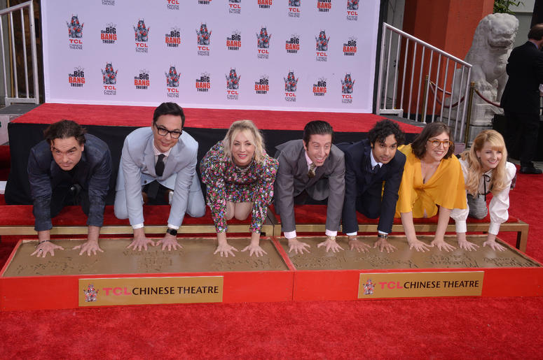 """The Cast of """"The Big Bang Theory"""" Johnny Galecki, Jim Parsons, Kaley Cuoco, Simon Helberg, Kunal Nayyar, Mayim Bialik and Melissa Rauch at their Handprints, Ceremony held at the TCL Chinese Theatre in Hollywood, CA on Wednesday, May 1, 2019."""