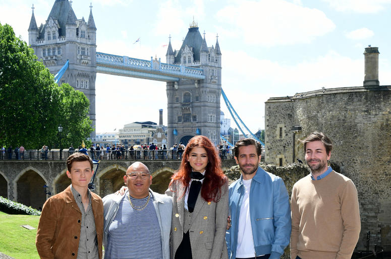 om Holland, Jacob Batalon, Zendaya, Jake Gyllenhaal and director Jon Watts attending the Spider-Man: Far From Home Photocall held at the Tower of London