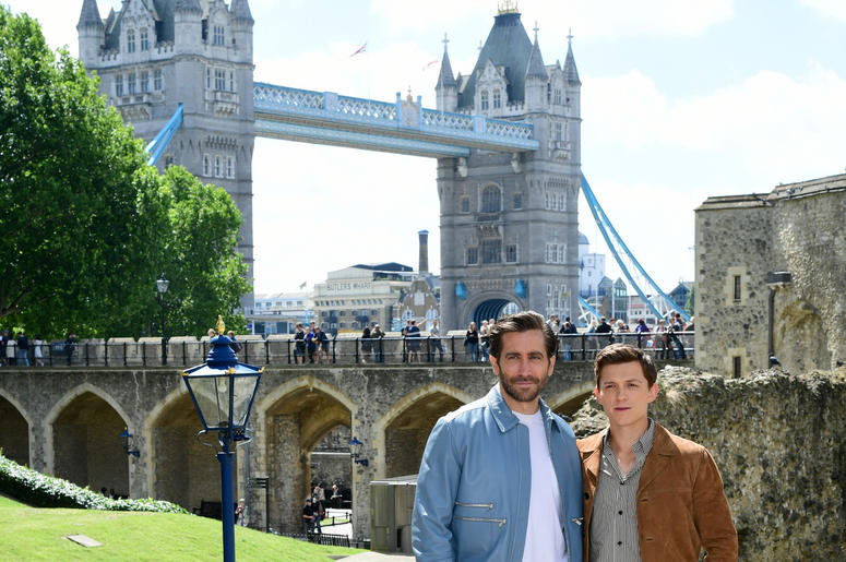 om Holland and Jake Gyllenhaal attending the Spider-Man: Far From Home Photocall held at the Tower of London. (