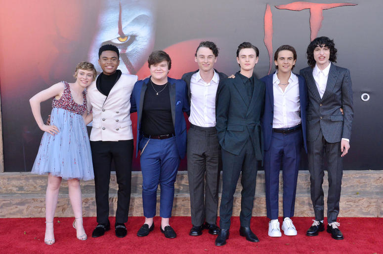(L-R) IT CHAPTER TWO Cast - Sophia Lillis, Chosen Jacobs, Jeremy Ray Taylor, Wyatt Oleff, Jaeden Martell, Jack Dylan Grazer, and Finn Wolfhard at the Warner Bros. Pictures' IT CHAPTER TWO Premiere held at the Regency Village Theatre in Westwood, CA on Mon