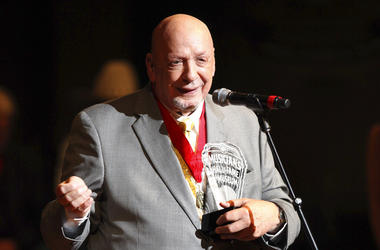 Fred Foster speaks as he is inducted into the Musicians Hall of Fame at the Musicians Hall of Fame awards show in Nashville, Tenn
