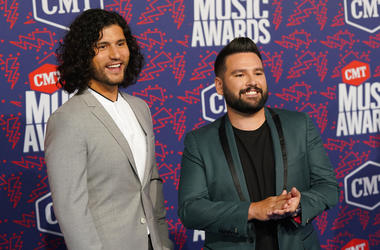 Dan Smyers, left, and Shay Mooney, of Dan + Shay, arrive at the CMT Music Awards on Wednesday, June 5, 2019, at the Bridgestone Arena in Nashville, Tenn
