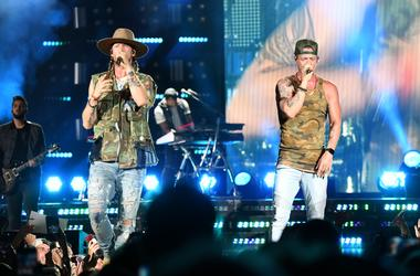 Brian Kelly and Tyler Hubbard (right) of Florida Georgia Line perform at Coral Sky Amphitheatre.
