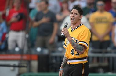 ittsburgh Pirates relief pitcher Steven Brault (43) performs the national anthem before the game against the St. Louis Cardinals at PNC Park.