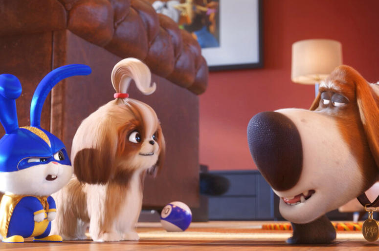 Universal Pictures shows, from left, Snowball, voiced by Kevin Hart, Dais