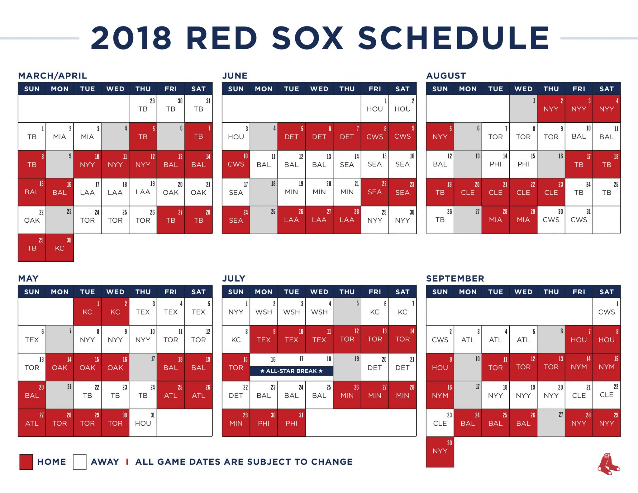 image about Yankees Schedule Printable titled The Purple Sox 2018 plan is wacky WEEI