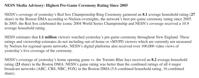The TV ratings for the Boston Red Sox world championship