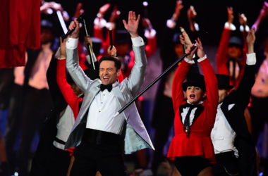 Hugh Jackman on stage at the Brit Awards 2019 at the O2 Arena, London