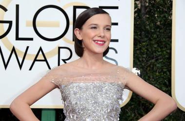 Millie Bobby Brown arrives for the 74th Golden Globe Awards at Beverly Hilton