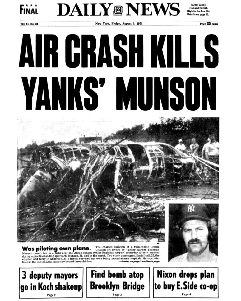 Front page of the New York Daily News on Aug. 3, 1979