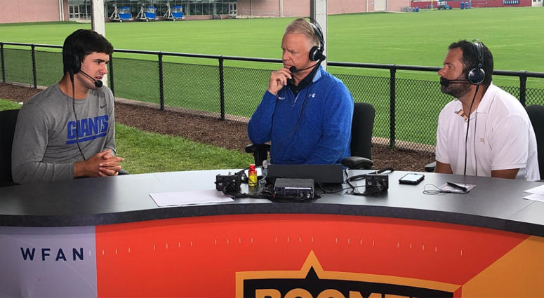 Giants QB Daniel Jones chats with Boomer and Gio on Aug. 6, 2019 at Quest Diagnostics Training Center.