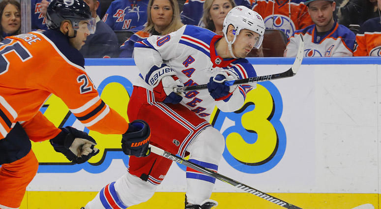 The Rangers' Chris Kreider shoots against the Edmonton Oilers on March 3, 2018, at Rogers Place in Edmonton, Canada.