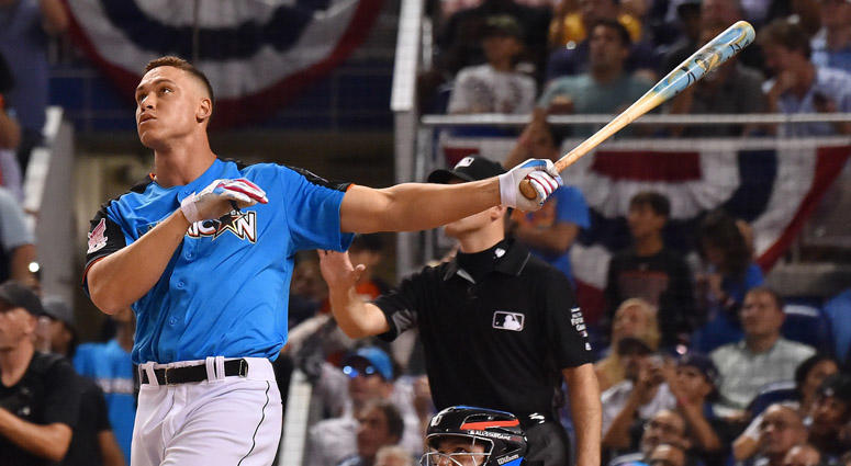 Aaron Judge takes a swing during the Home Run Derby on July 10, 2017, at Marlins Park in Miami.