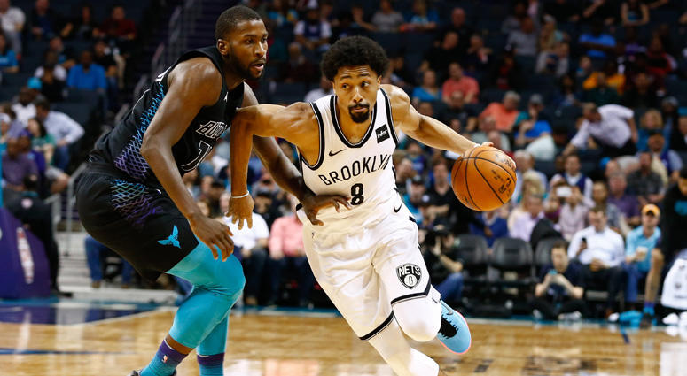 The Nets' Spencer Dinwiddie drives the ball against the Hornets' Michael Kidd-Gilchrist on Feb. 22, 2018, at the Spectrum Center in Charlotte, North Carolina.
