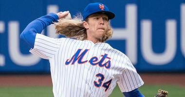 The Mets' Noah Syndergaard pitches against the St. Louis Cardinals on March 29, 2018, at Citi Field.