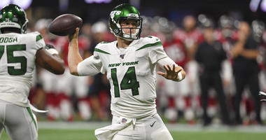 Jets quarterback Sam Darnold passes against the Falcons on Aug. 15, 2019, at Mercedes-Benz Stadium in Atlanta.