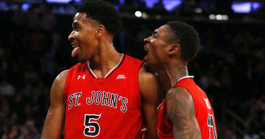 St. John's guard Shamorie Ponds (2) and forward Marvin Clark II celebrate during against Georgetown in the Big East tournament on March 8, 2018, at Madison Square Garden.