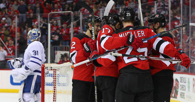 The Devils celebrate a goal by center Pavel Zacha against the Toronto Maple Leafs on April 5, 2018, at the Prudential Center.