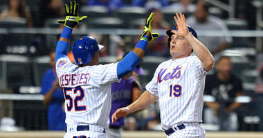 The Mets' Yoenis Cespedes and Jay Bruce