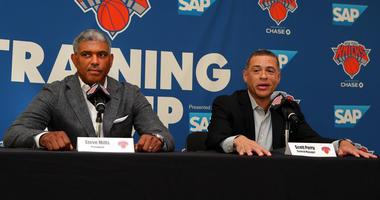 Knicks president Steve Mills (left) and general manager Scott Perry