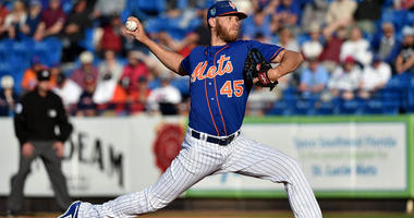 Mets starting pitcher Zack Wheeler (45) delivers a pitch against the Washington Nationals during a spring training game on March 22, 2018, at First Data Field in Port St. Lucie, Florida.