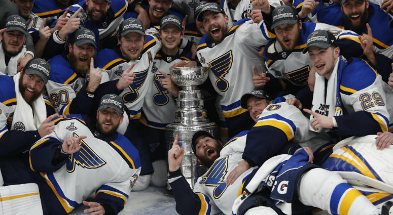 The St. Louis Blues celebrate winning the Stanley Cup