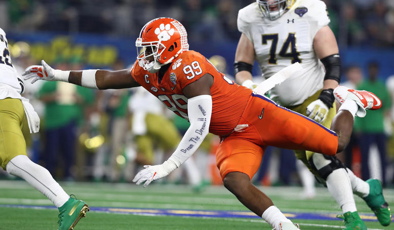 Clemson Tigers defensive end Clelin Ferrell (99) in action during the second half against the Norte Dame Fighting Irish in the 2018 Cotton Bowl college football playoff semifinal game at AT&T Stadium.