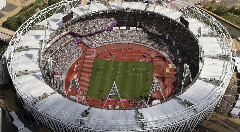 In this Aug. 3, 2012, file photo, Olympic Stadium is viewed during the Summer Olympics at Olympic Park in London.