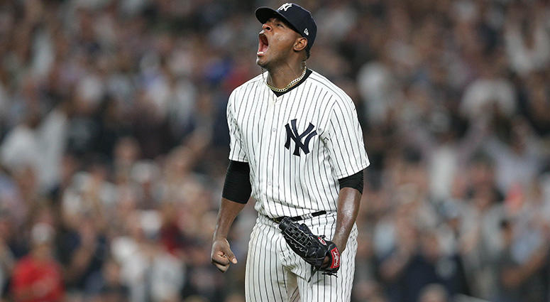 Oct 3, 2018; Bronx, NY, USA; New York Yankees starting pitcher Luis Severino (40) celebrates after making the last out while bases were loaded during the fourth inning against the Oakland Athletics in the 2018 American League wild card playoff baseball ga