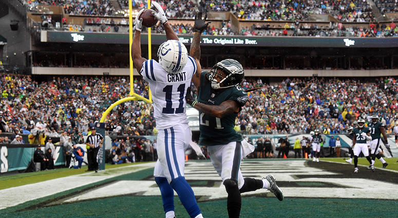 Sep 23, 2018; Philadelphia, PA, USA; Indianapolis Colts wide receiver Ryan Grant (11) catches as pass for a touchdown as Philadelphia Eagles cornerback Ronald Darby (21) defends in the first quarter at Lincoln Financial Field.  James Lang USA TODAY Sports