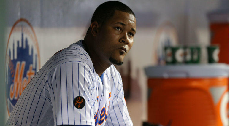Jeurys Familia reacts in the dugout during the ninth inning against the Pittsburgh Pirates at Citi Field.