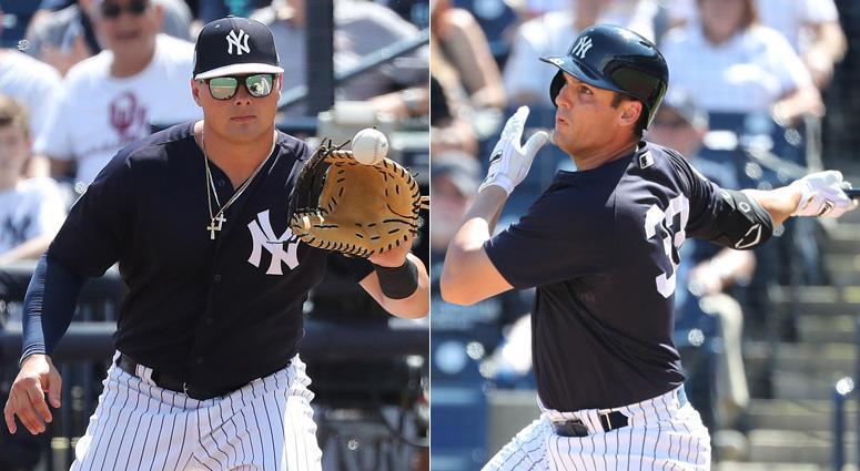 Yankees first basemen Luke Voit and Greg Bird