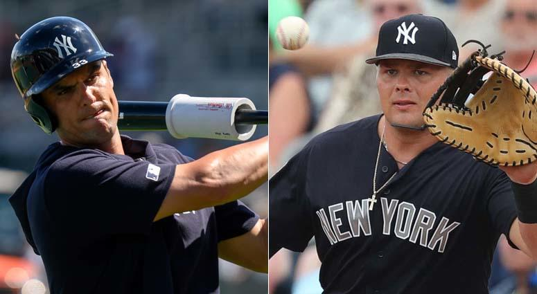Yankees first basemen Greg Bird (left) and Luke Voit
