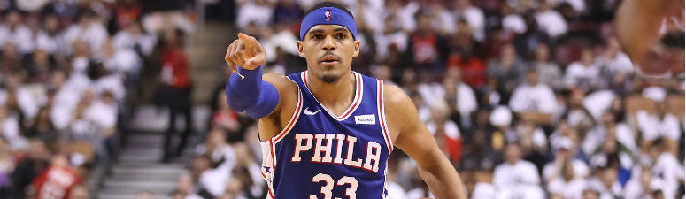 Tobias Harris gestures from the court in the third quarter against the Toronto Raptors in game two of the second round of the 2019 NBA Playoffs at Scotiabank Arena.