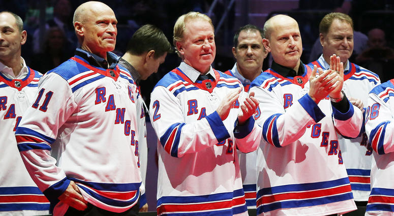 Feb 8, 2019; New York, NY, USA; Rangers captain Mark Messier associate catains Brian Leetch and Adam Graves look on during the ceremony honoring the 1994 Stanley Cup Championship Rangers team at Madison Square Garden. Credit: Andy Marlin-USA TODAY Sports