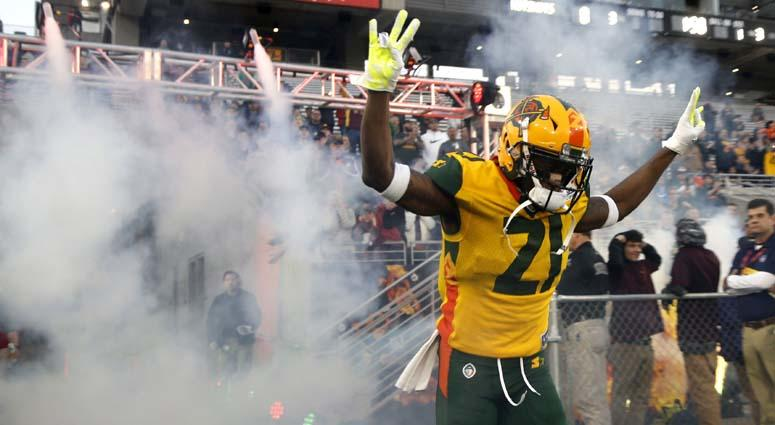 Hotshots' Robert Nelson comes onto the field to play the Stallions during the first half of an AAF at Sun Devil Stadium in Tempe, Arizona, on Feb. 10, 2019.