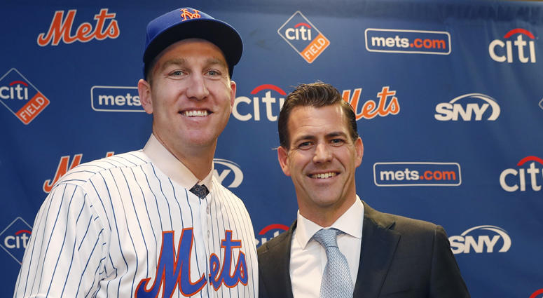 FILE -- Brodie Van Wagenen poses with Mets third baseman Todd Frazier.