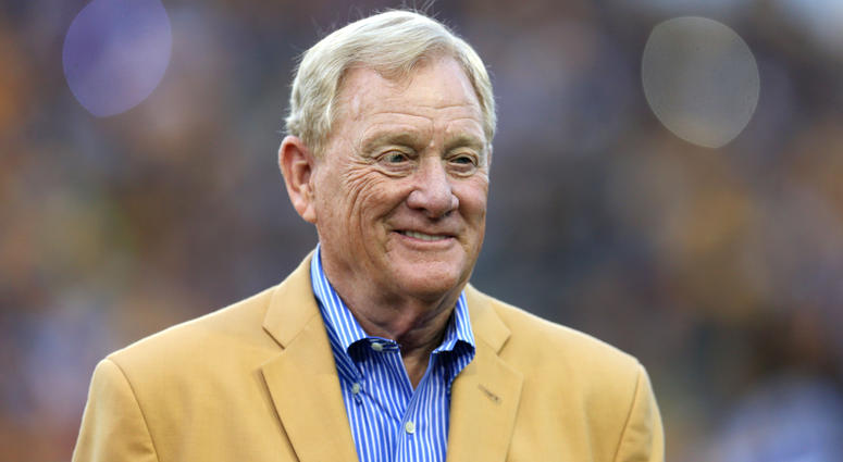 Aug 9, 2015; Canton, OH, USA; Bill Polian is introduced at the 2015 Hall of Fame game at Tom Benson Hall of Fame Stadium. Mandatory Credit: Andrew Weber-USA TODAY Sports