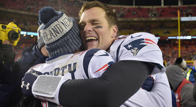 an 20, 2019; New England Patriots quarterback Tom Brady celebrates with Devin McCourty after defeating the Kansas City Chiefs during overtime in the AFC Championship game at Arrowhead Stadium. Mandatory Credit: Denny Medley - USA TODAY Sports