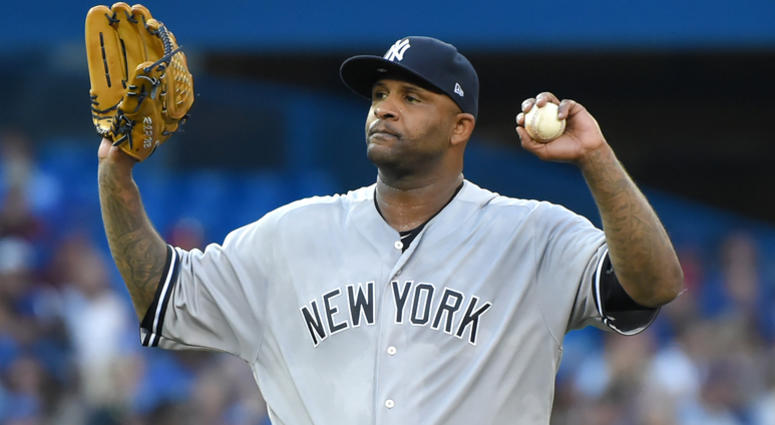 New York Yankees pitcher CC Sabathia pitches in the third inning at Rogers Centre on Aug 8, 2017.