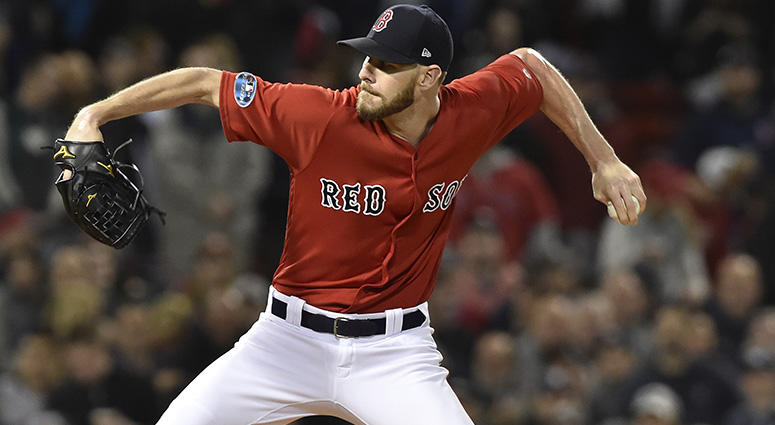Oct 5, 2018; Boston, MA, USA; Boston Red Sox starting pitcher Chris Sale (41) throws the ball during the first inning against the New York Yankees during game one of the ALDS at Fenway Park. Mandatory Credit: Bob DeChiara-USA TODAY Sports