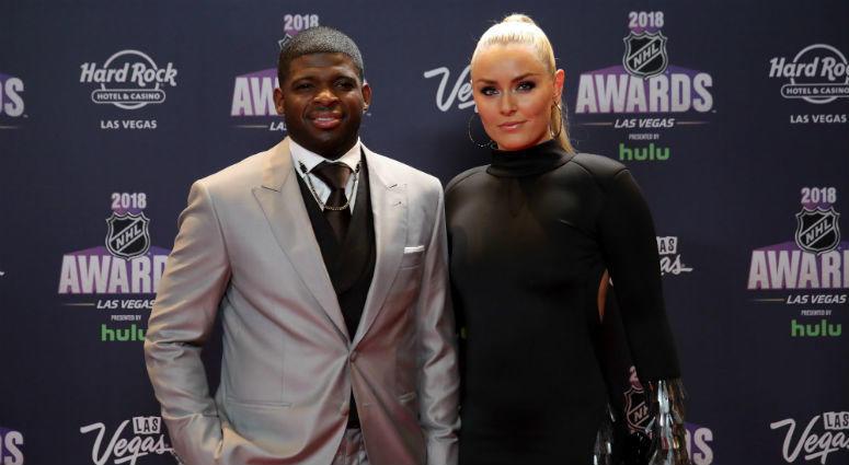 P.K. Subban of the Nashville Predators poses with skier Lindsey Vonn as they arrive at the 2018 NHL Awards