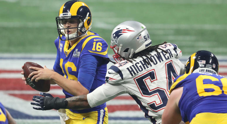 Feb 3, 2019; Atlanta, GA, USA; Jared Goff (16) is sacked by New England Patriots outside linebacker Dont'a Hightower (54) during the third quarter of Super Bowl LIII at Mercedes-Benz Stadium. Mandatory Credit: Jason Getz-USA TODAY Sports